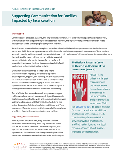 Families Impacted by Incarceration Tip Sheet: Supporting Communication