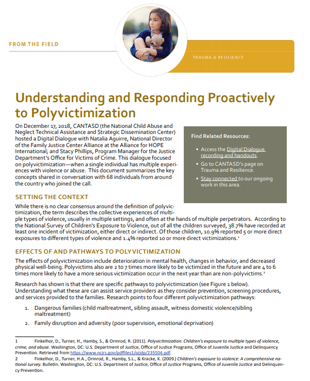 From the Field: Understanding and Responding Proactively to Polyvictimization